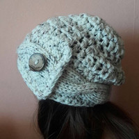 Slouchy Beanie with Button Hand Knit Hat Chunky Hat Women Teen to Adult