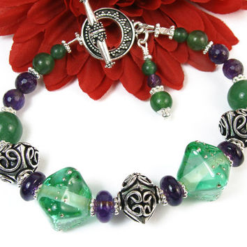 Green Lampwork Amethyst Bracelet, Bali Style Beads and Toggle Clasp, Handmade Beaded Jewelry