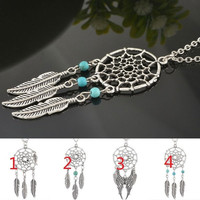 Fashion Retro Jewelry Dream Catcher Feathers Pendant Chain Silver Necklace Gift = 5617000577