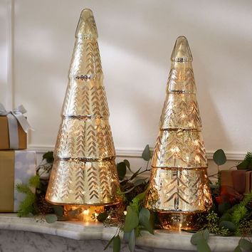 Lit Gold Etched Mercury Trees
