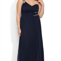 Plus Size Long Prom Dress with One Shoulder Double Stone Strap