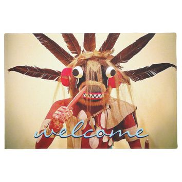 """Welcome"" cute smile silly fun face photo doormat"