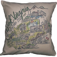 Southern Apparel and Serendipity Roadmap Pillow West Virginia