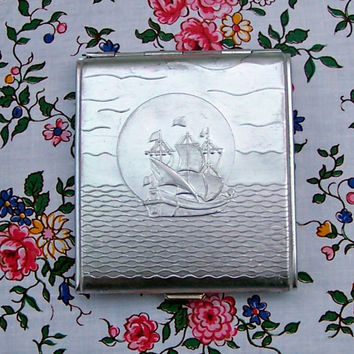 Vintage Soviet Cigarette Case. Aluminum Cigarette Case. Vintage Cigarette Box. Business/Credit Card Holder. Metal Wallet.