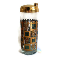 Mid Century Cocktail Shaker, Glass and Brass, Retro Barware, Green and Gold, Square Geometric Pattern, Home Decor, Teal Blue, Lions