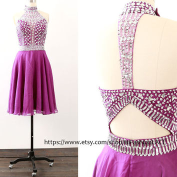 Grape Short Prom Dress, Crystal Straps Chiffon Prom Gown, Homecoming Dress, Short Chiffon Purple Formal Dresses, Wedding Party Dress