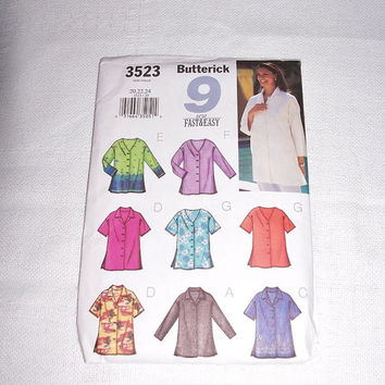 Sewing Pattern Craft Butterick Sew Fast & Easy #3523 Misses Womans Girls 9 Blouse Fashion Sewing Supply