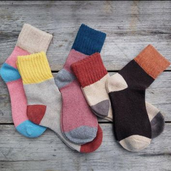 ESBUF3 5 Pairs Women Wool Cashmere Thick Warm Soft Solid Casual Sports Socks Winter