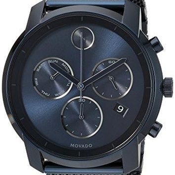 Movado Men's Swiss Quartz and Stainless-Steel-Plated Casual Watch, Color:Blue (Model: 3600403)
