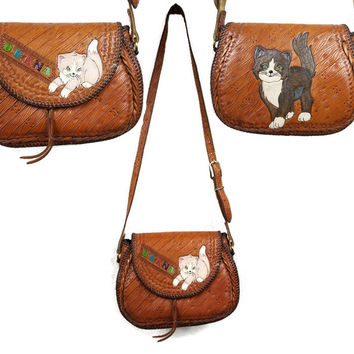 70's Vintage Saddle Bag Purse Kittens Hand Tooled Adjustable Strap Cute Cats