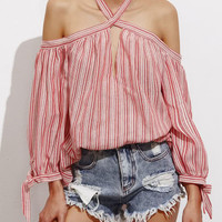 Off Shoulder Keyhole Halter Tie Sleeve Striped Top