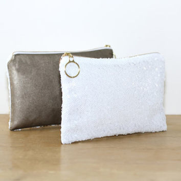 White Sequin and Dark Gold Metallic Leather Clutch / Sparkly Bachelorette Favor / Fancy Bridesmaid Gift Bag - Almquist Design Studio