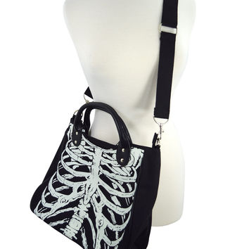 Banned Gothic Emo Ribcage Skeleton Glow in the Dark Shoulder Bag