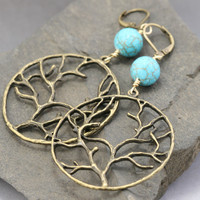 Large Tree Dangle Earrings - Statement Hoop Earrings