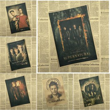 Supernatural Classic Movie Retro Kraft Paper Poster Bar Cafe Living   Decorative Paintings
