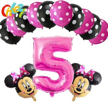 13PCS/lot Pink Baby girl Number 4 5 6 7 8 9 year Birthday Balloons Minnie Mouse head Foil Ballons Baby Shower Decor AIR Globos