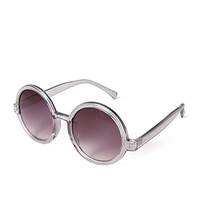 FOREVER 21 Retro Round Sunglasses Grey/Purple One