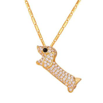Collare Dachshund Dog Pendant Necklaces