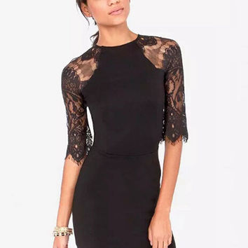 Lace Long Sleeve  Bodycon Mini Dress