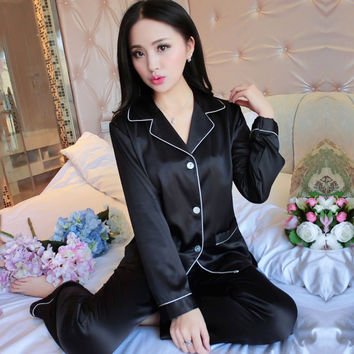 Upscale Couples Pajamas Sets Men Women Long Sleeve Sleepwear Homewear Nightshirt Soft Faux Silk Satin
