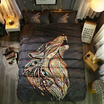 Fanaijia 3d Wolf duvet cover set queen Animal bohemian Print Bedding Set Pillowcase Bedspreads Quilt Cover Size bed line
