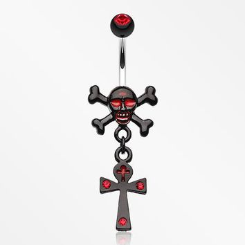 Cross Bones and Ankh Belly Button Ring
