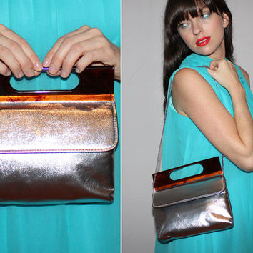 Vintage 60s Silver SPACE AGE Purse / Mod Handbag / LUCITE Tortoiseshell Handle / Evening Bag, Formal, Special Occasion