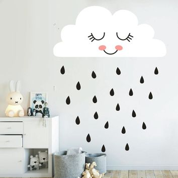 Cute Cloud Wall Decal Rain Cloud Face Wall Sticker For Kids Room Nursery Decal Decor Living Room Home Decor Vinyl Stickers A811