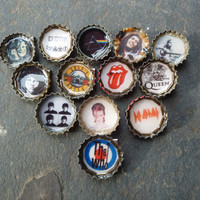 Singers / Rock Bands Upcycled Bottle Cap Pin Button Brooch: Marley Bowie Morrison Joplin, Zeppelin, Stones, Beatles Who, Queen Pink Floyd
