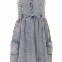 MOTO Denim Babydoll Dress - Mid Stone