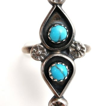 Sterling Silver Turquoise Ring Size 6.75 Vintage