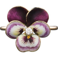 Enamel & Diamond Pansy Ring, 14k Purple Enamel Flower Ring