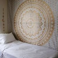 Indian Mandala Tapestry Hippie Wall Hanging Bohemian Gold Bedspread Throw Decor
