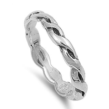 Sterling Silver Braided 3MM Toe Ring/ Knuckle/ Mid-Finger   Size 2