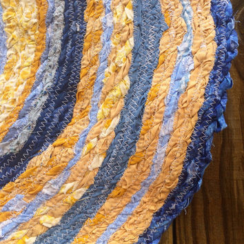 SALE- Round Rag Rug- Scrap Fabric Twine- Blue and Mustard Yellow