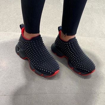 christian louboutin[CL] Increase Comfortable Rivet Daddy Sports Shoes