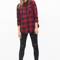 FOREVER 21 Tartan Plaid Shirt Red/Dark Navy