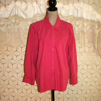 Long Sleeve Blouse Cotton Shirt Dark Pink Pinstripe Women Shirts Casual Tops Button Up Blouse Chevron Size 18 Size 20 2X Plus Size Clothing