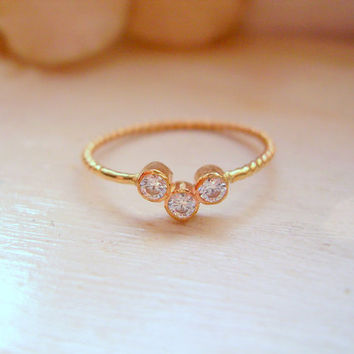 Diamond 3 Stone Ring Three Stone Anniversary Ring 14k Yellow Gold Pinky Ring Promise Ring Stacking Ring - made to order in your finger size