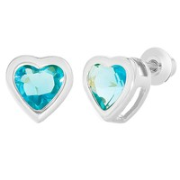 Rhodium Plated Light Blue Crystal Heart Safety Screw Back Earrings for Kids