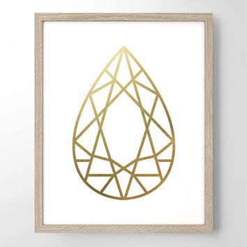 Geometric Pearl Drop Faux Gold Foil Art Print - Geometric Art - Bedroom Decor - Wedding Gift - Office Decor - Minimalist - Simplistic Decor