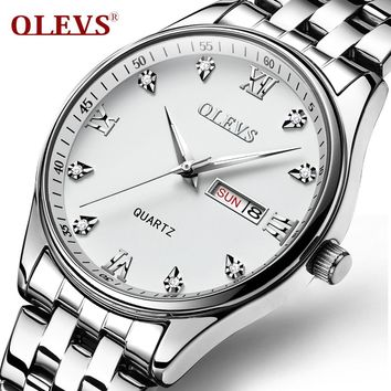 OLEVS Simple Business Men Watch Luminous Auto Date & Week Male Clock Watches Quartz Dial Calendar Man Bracelets WristWatch Gifts