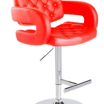 Red Eco-Leather Bar Stool