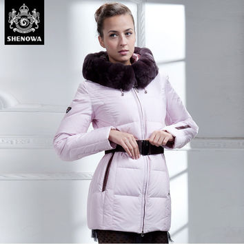 2016 new European parka winter jacket women big rabbit fur collars SLIM fashion down coat warm thick dress