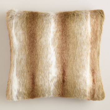 Brown Faux Fur Throw Pillow - World Market
