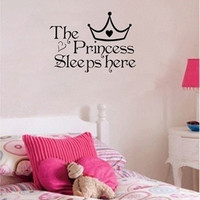 The Princess sleeps here - Wall Say Quote Word Lettering Art Vinyl Sticker Decal Home Decor Words = 1946044932