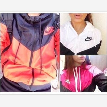 Fashion NIKE Hooded Zipper Cardigan Sweatshirt Jacket Coat Windbreaker Sportswear(6-color)