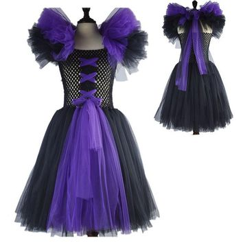 Latest Baby Girl Super Hero Tutu Dress Children girl dress halloween Maleficent cosplay costumes for kids