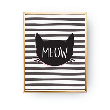Meow, Kitty Poster, Nursery Wall Decor, Baby Art, Meow Cat Poster, Nursery Print, Wall Decor, Kids Room Decor, Nursery Room Decor, 8x10