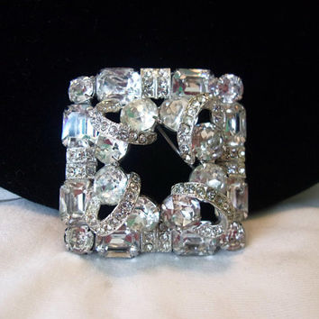 Weiss Diamante Glass Rhinestone Dimensional Square Vintage Geometric Brooch Pin